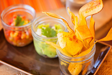 plantain chips and dips