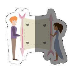couple love card romance shadow vector illustration eps 10