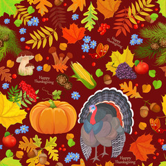 colorful seamless texture with autumn elements. happy thanksgivi