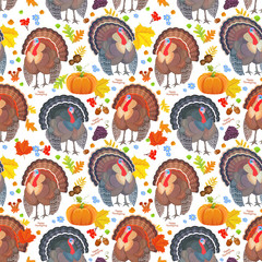 funny seamless pattern with cute turkeys. happy thanksgiving day