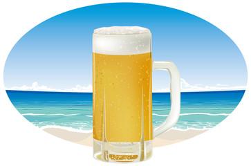 生ビールと青い海のイメージイラスト