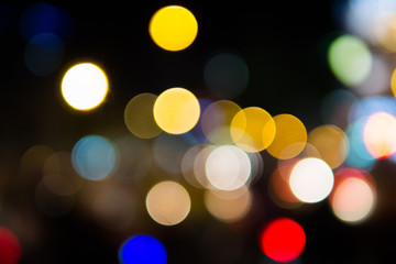 Traffic bokeh colorful at night blurry