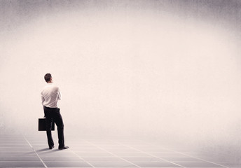 Business person standing in empty space
