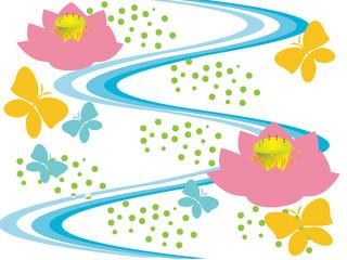 流れる蓮の川と蝶