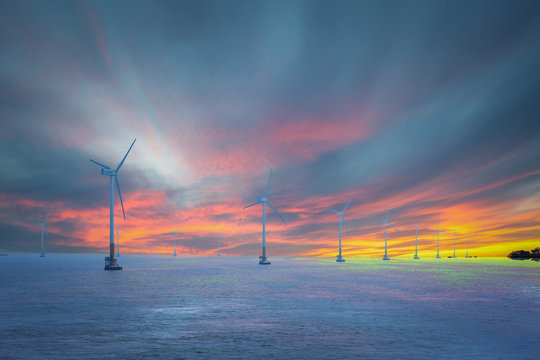 Wind power generators on the sea