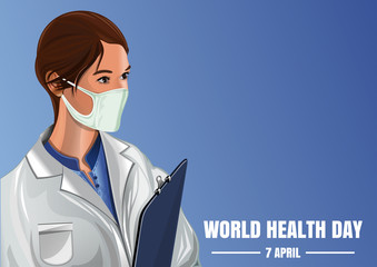 World Health Day. April 7. Medical vector background with a nurse in a gauze bandage. Woman medic on a blue background. Vector illustration