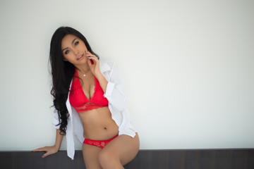 sexy asian woman in red lingerie