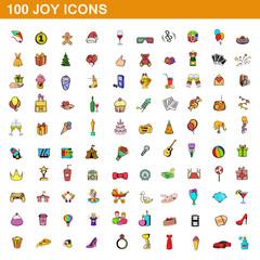 100 joy icons set, cartoon style