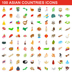 100 Asian countries icons set, isometric 3d style