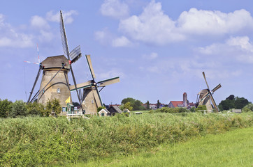 Ancient wind mills in a fresh green field on a summer day at the famous Kinderdijk, Holland.