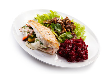 Stuffed chicken fillet with vegetables
