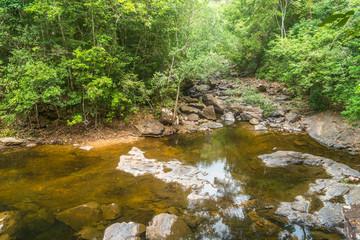 beautiful tropical rainforest waterfall in deep forest, Klong Plu National Park, Thailand