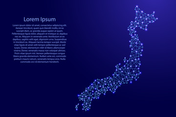 Map of Japan from polygonal blue lines and glowing stars vector illustration
