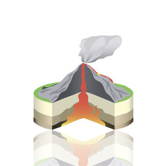 Volcano eruption cross section isolated. Vector Info graphic. Hot lava vector illustration.