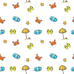 cute of doodle summer beach pattern seamless vector on white background