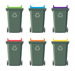 vector set of recycling wheelie bin icons