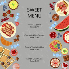 Sweet restaurant menu template with different dishes meals and fruits. Vector illustration eps 10