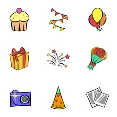 Birthday icons set, cartoon style