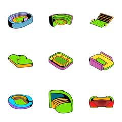 Arena icons set, cartoon style