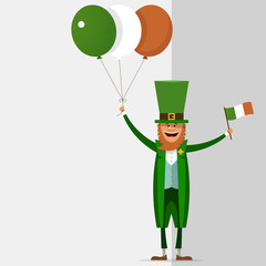 Saint Patrick holds in his hand the balls of the Irish national flag colors. Vector illustration on grey background with place for text.