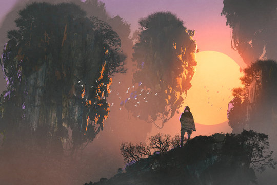 surreal scenery of man standing on rock of mountain looking at floating islands, illustration painting