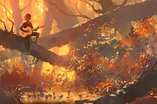 young man with guitar sitting on the tree in autumn forest, illustration painting