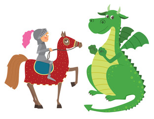 Knight on horseback and dragon