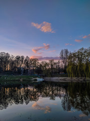 City park during the sunset