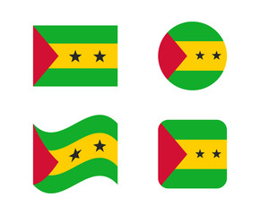 set 4 flags of sao tome
