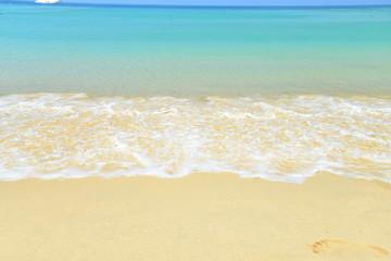 sea beach blue sky sand sun daylight relaxation landscape viewpoint for design postcard and calendar in thailand