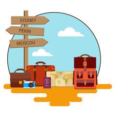 Ensemble de bagage, valise, sac pour voyage - Illustration