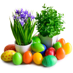 Easter eggs with flowers postcard