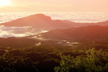 Beautiful landscape sunrise at Doi Intanon National Park View point, Chiang Mai Thailand
