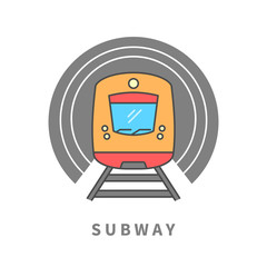Subway train in the tunnel