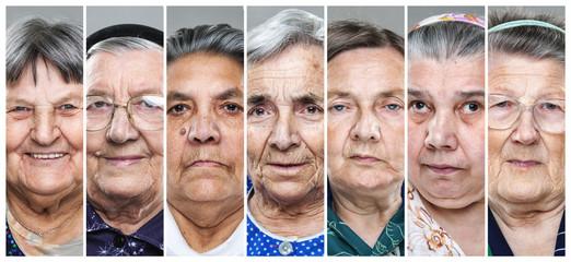 Closeup collage of multiple senior women