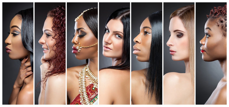Profile view collage of multiple women with various skin tones