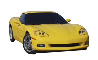 Yellow sports car isolated