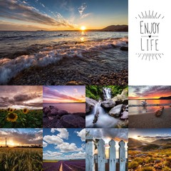 Collage of landscape photos at sunset