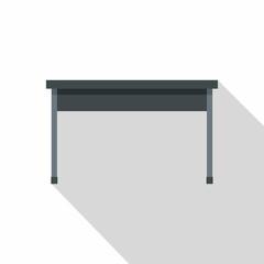 Black desk icon, flat style
