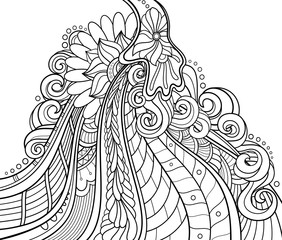 Vector Monochrome Background. Abstract Ornament. Hand Drawn Contour Lines