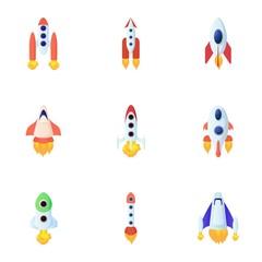 Space rocket icons set, cartoon style