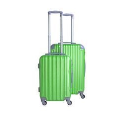 Two suitcases isolated on white background. Polycarbonate suitcases isolated on white. Green suitcases.