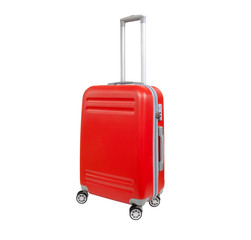 One suitcase isolated on white background. Polycarbonate suitcase isolated on white. Red suitcase.