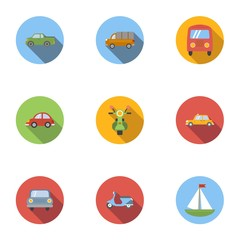 Carriage services icons set, flat style