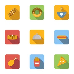 Morning meal icons set, flat style