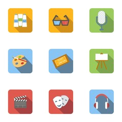 Art and creativity icons set, flat style