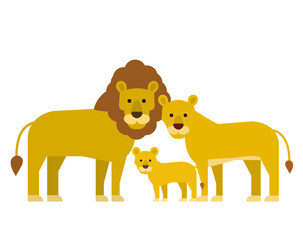 cartoon lions family in flat style on white background