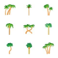 Green palms icons set, cartoon style