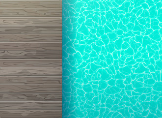 swimming pool with wooden floor top view