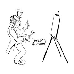 Comedian draws a picture
